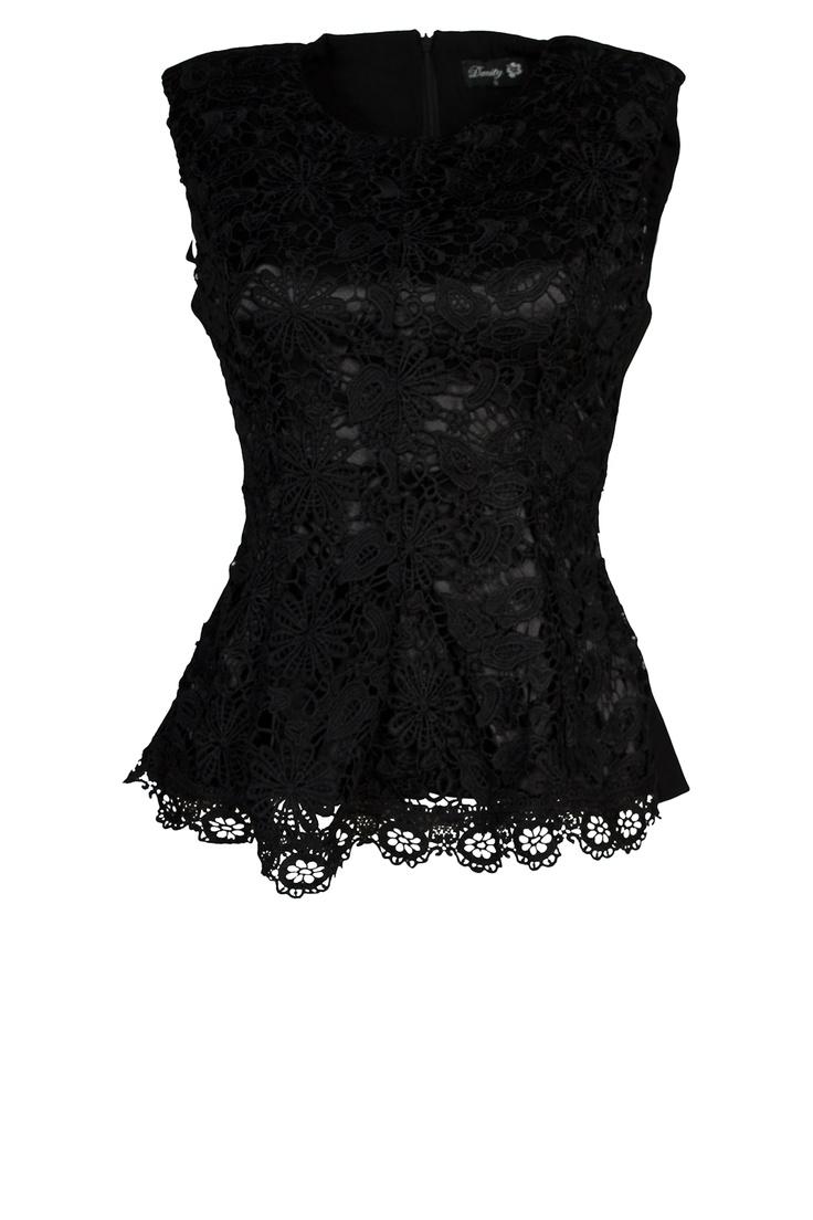 The Amazon de online store voor damesmode :: Tops & Truien :: Kanten Peplum Topje - Zwart