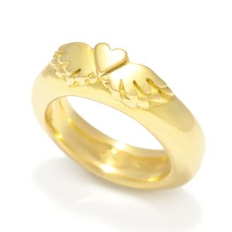 Classic Winged Heart 18ct Yellow Gold Heavy Wedding Band with Winged Heart by Sophie Harley London.