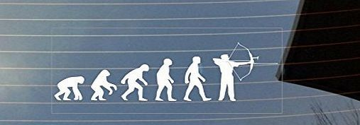 Shaw Print Evolution of man Archery car window sticker - White 180mm Wx 90mm H Clear vinyl sticker with white print. Designed to be stuck to the inside of a car window (will not show through tinted window!) (Barcode EAN = 5060439502099). http://www.comparestoreprices.co.uk/december-2016-week-1-b/shaw-print-evolution-of-man-archery-car-window-sticker--white.asp