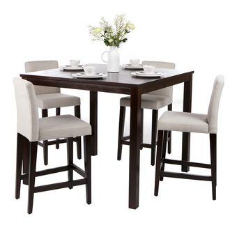 Ensemble Table de bar + 4 Chaises hautes bois Manguier massif NATURA