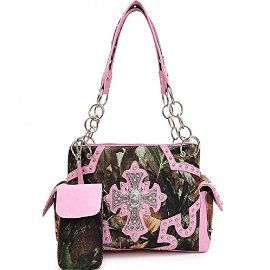 Pink Concealed Carry Rhinestone Cross Camo Purse In Stock: 69.99