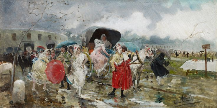 Eugenio Lucas Villaamil - Leaving the bullring, Rain - 1885