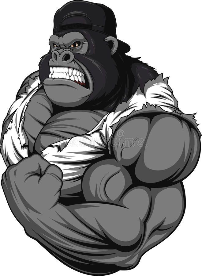 Terrible Gorilla Athlete Vector Illustration Terrible Gorilla