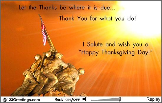 Happy Thanksgiving to our military | Happy Thanksgiving To The Soldier! Free Happy Thanksgiving eCards ...