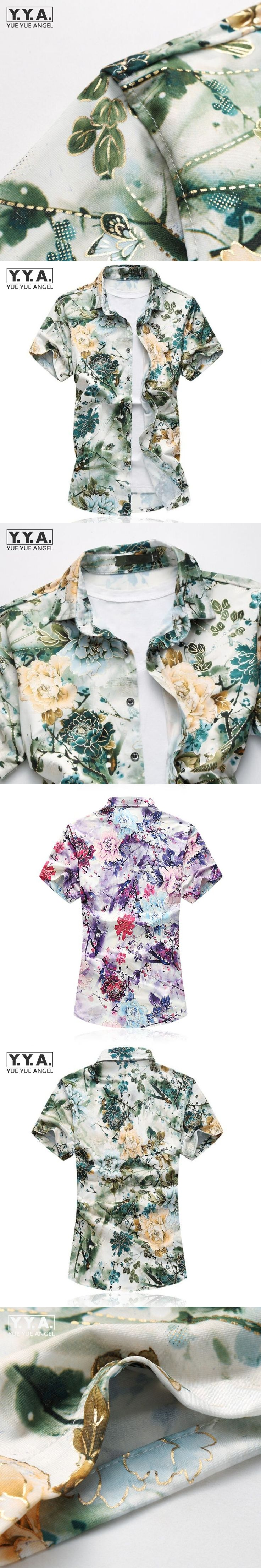 Summer Hawaiian Silk Cotton Short Shirts For Men Plus Size M-7XL Slim Fit Floral Printed Mens Tops Breathable Comfortable Shirts