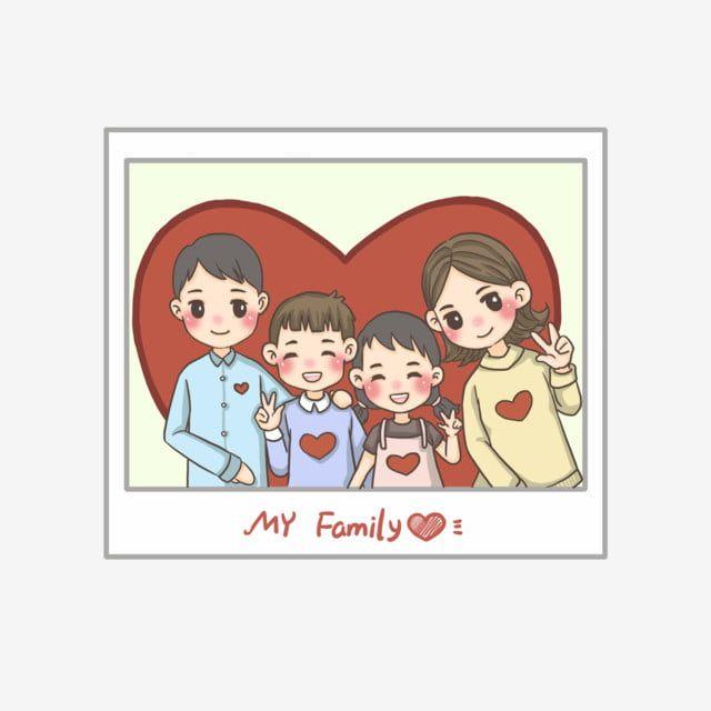 صورة عائلتي أربعة صورة عائلية عائلة متناغمة ملصق صغير لطيف عائلة اسلوب لطيف قلب أحمر Png وملف Psd للتحميل مجانا My Family Photo Fantasy Posters Photo Frame Design