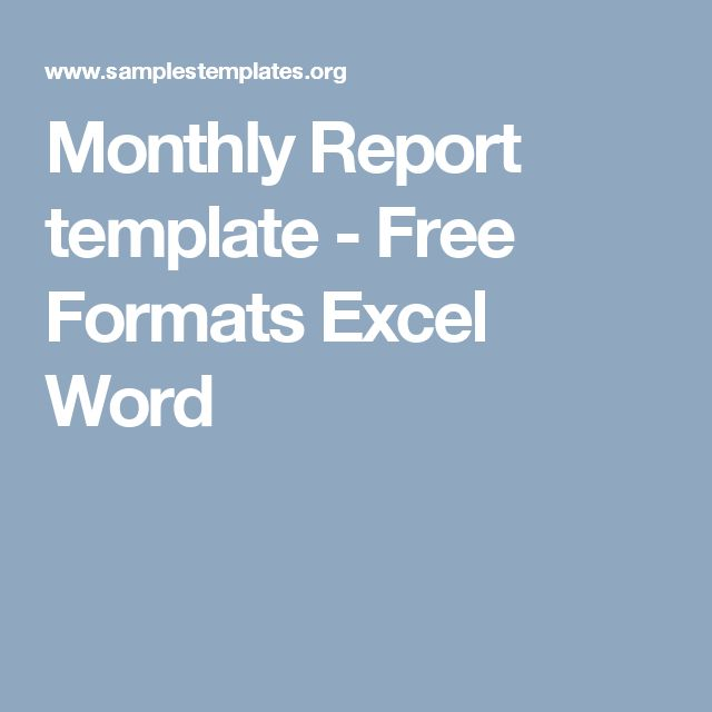 Monthly Report template - Free Formats Excel Word