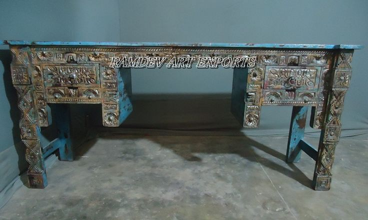 Painted Reclaimed Wooden Console Table