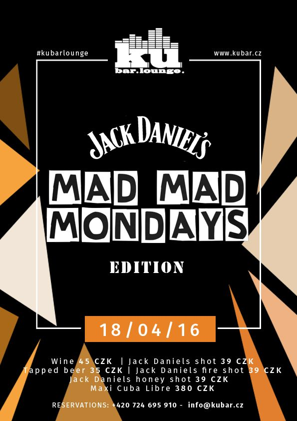 TONIGHT  MAD MAD MONDAY - Jack Daniel's edition 18/4/2016 - EVERY MONDAY AT #KUBARLOUNGE THE BEST MONDAY PARTY IN PRAGUE Only the best music by DJ Black Jesus & Dj Stayer OPEN BAR FOR GIRLS - 21 - 22 & 01 - 02 o'clock - unlimited wine & tapped beer #kubarlounge #prague #praguegirl #party #partytime #fun #night #nightout #girl #girls #tags #tagsforlikes #tagstagramers #like4like #likeforlike #likesforlikes #follow4follow #followforfollow #followbackal ways #instagood #instalike