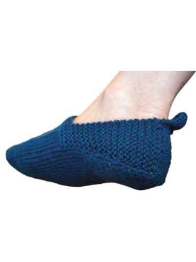 Saki Slippers Knit Pattern. All one piece, no seaming. Via Annie's Catalog. Intermediate level. (not free)