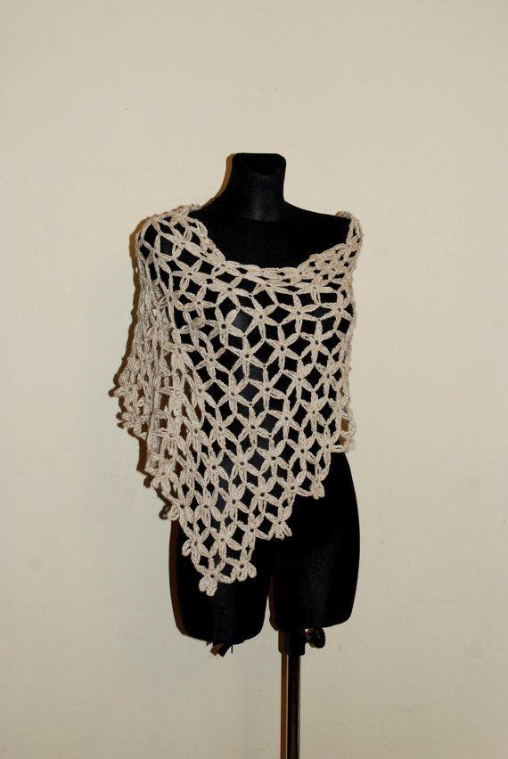 Ecru Summer Poncho Beige Crochet Poncho Women's by aboutCRAFTS