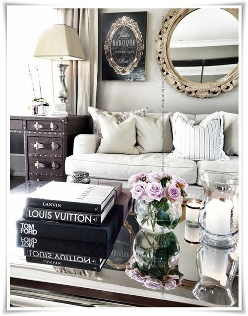 I love how they threw black in this contemporary color mix. I may try this at home with our blue and beige