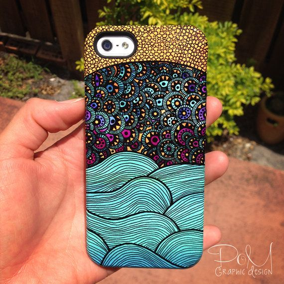 This phone case is truly a stunner, featuring my original abstract illustration of beautiful ocean waves with a vibrant and colorful