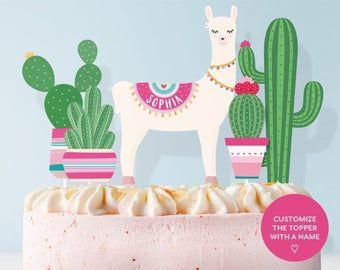 Llama cake topper with cactus. Pink and green llama and ...