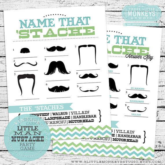Name That 'Stache Mustache Baby Shower Game