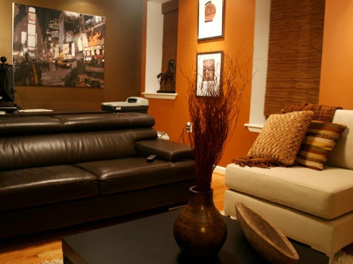 Lovely Chocolate Brown And Orange Living Room #7 Gold And ...