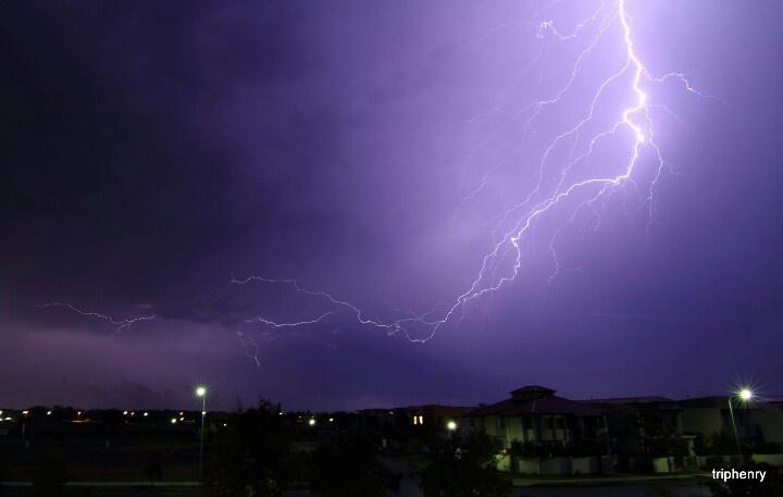 December Summer Lightning storm Hope Island Australia