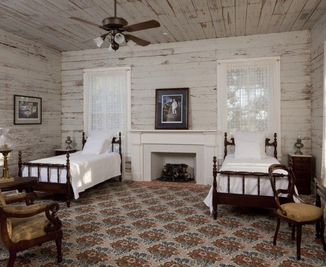 Glamorous Shiplap  fashion Other Metro Farmhouse Bedroom Inspiration with  antique bed Bedroom brick carpet carpet pattern curtains distressed finish fire place Fireplace floral
