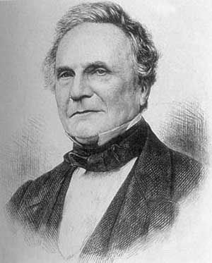 Charles Babbage (26 December 1791 – 18 October 1871) was an English polymath.  A mathematician, philosopher, inventor and mechanical engineer, Babbage is best remembered for originating the concept of a programmable computer. -  http://en.wikipedia.org/wiki/Charles_Babbage