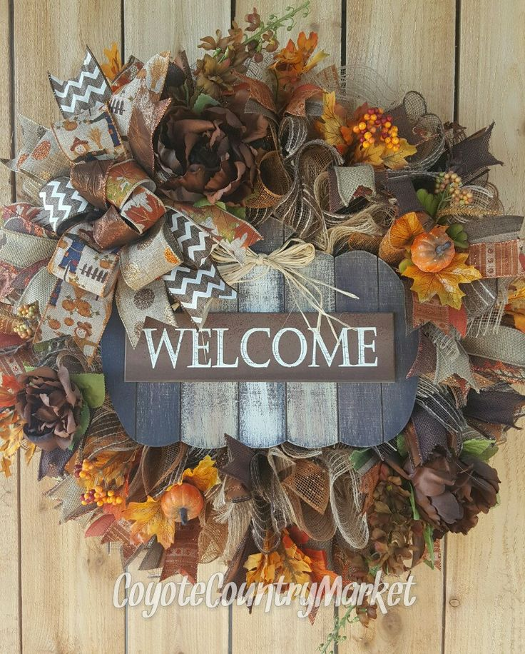 Welcome Pumpkin Fall Mesh Wreath, Pumpkin Wreath, Scarecrow Wreath, Fall Decor, Autumn Door Wreath, Burlap Mesh Wreath, Fall Mesh Wreath by CoyoteCountryMarket on Etsy