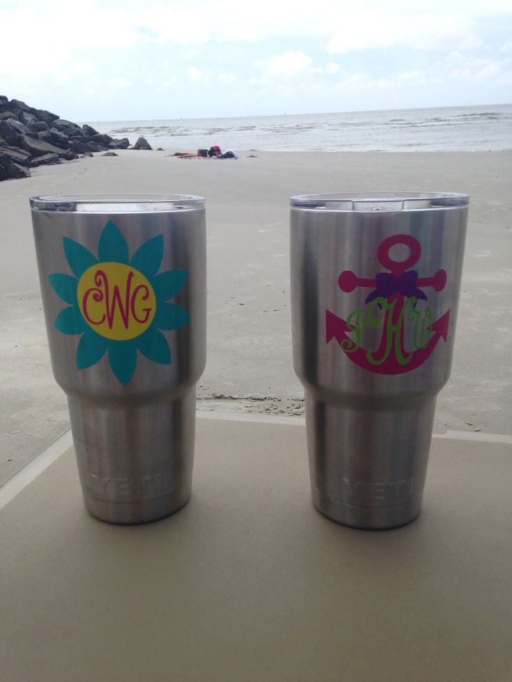 Monogrammed yeti cups.