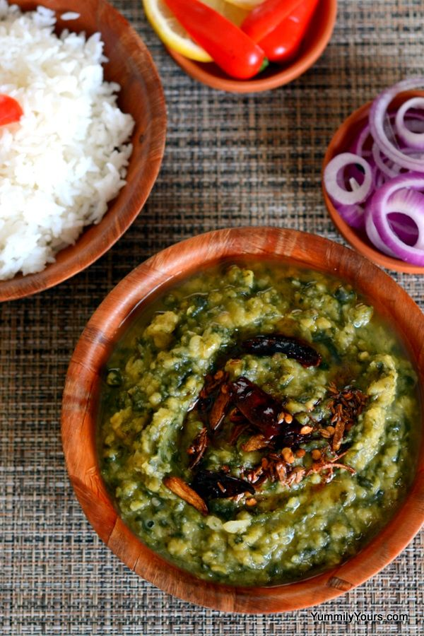 Dal Palak (Spinach Lentil Curry) - yellow lentils, spinach leaves, garlic cloves, onion, green chili, cumin seeds, mustard seeds (optional), oil (would reduce), whole dried red chili