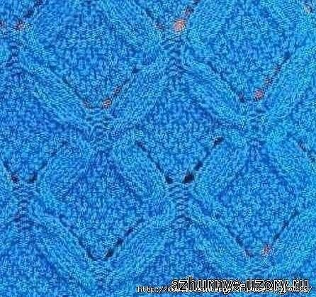Схема ажурного узора с косами для вязания спицами