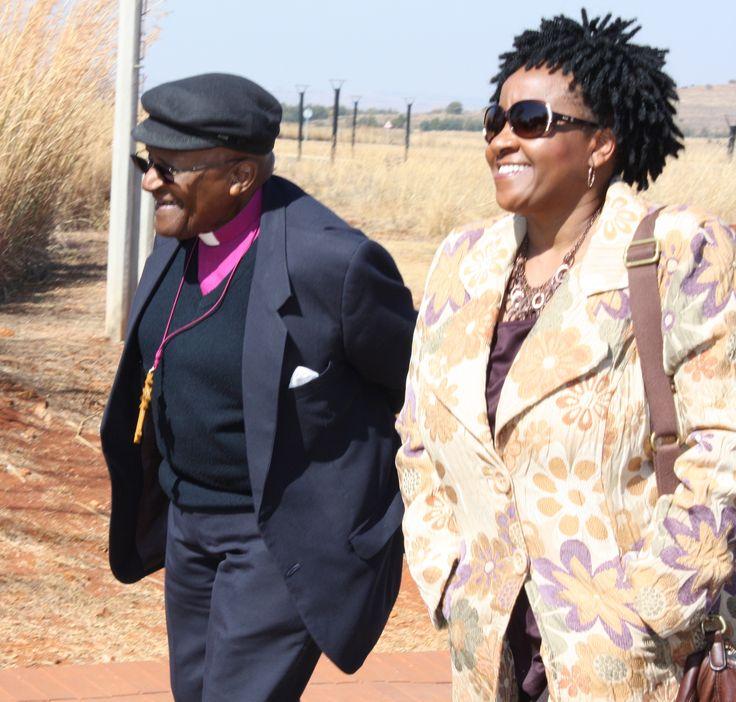 Archbishop Emeritus Desmond Tutu and his daughter Nonthombi Tutu arrive at Maropeng .