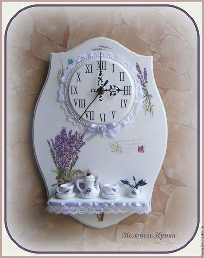 """Часы для дома ручной работы. Ярмарка Мастеров - ручная работа. Купить Часы панно с полочкой """"Лаванда (миниатюрное чаепитие-3).. Handmade."""