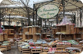 Eggs, eggs, eggs everywhere: The Easter market at Vienna's Freyung square. They are all beautifully painted. http://www.vienna-unwrapped.com/things-to-do-in-vienna-april.html