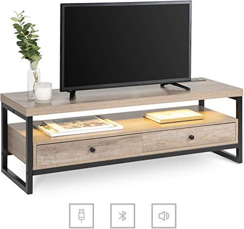 Amazing offer on Best Choice Products Mid-Century Modern Bluetooth TV Storage Stand Entertainment Center Furniture Decor w/Built-in Speakers, LED Light Strip, Open Shelf – Brown online