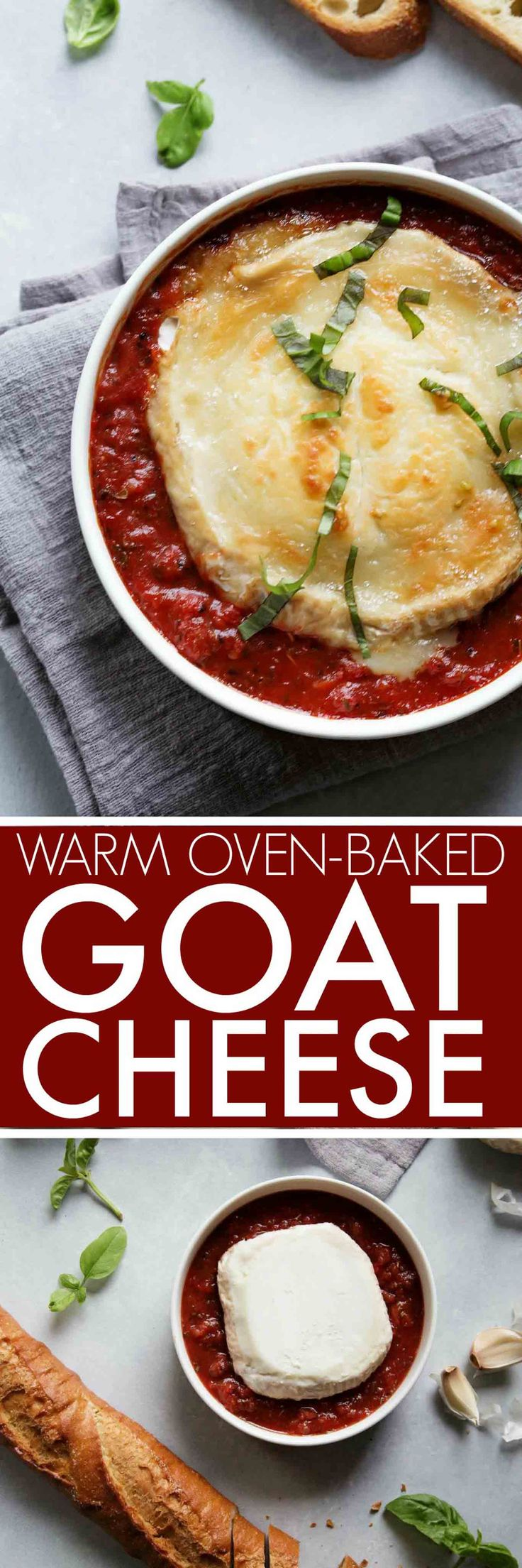 This baked goat cheese appetizer is super simple to throw together at the last minute. French goat cheese is baked in a marinara sauce until hot and bubbly - Perfect for spreading on crostini. #appetizer #easyappetizer #goatcheese #crostini #bakedgoatcheese  via @platingspairing