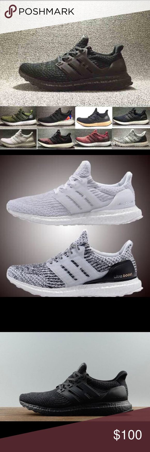 Adidas Ultra Boost Many different ultra boost for sale! Items are not authentic but look identical! Contact me at (845) 490-4638 before purchasing to let me know what color and size you would like. The shoes come in all sizes and if you would like a color scheme that's not there I can most likely find it!! The shoes will take 2-4 weeks to ship NOT 1 week! adidas Shoes Athletic Shoes