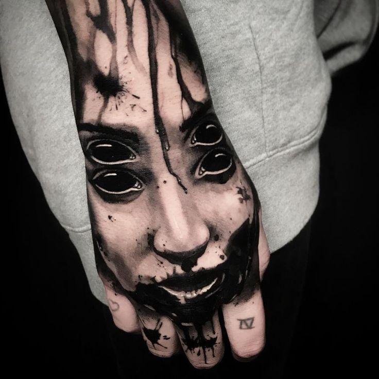 Tattoo By Ben Thomas Benthomas Darkarttattoos Blackandgrey Portrait Demon Tattoo Pins Evil Eye Tattoo Black Eye Tattoo Hand Tattoos