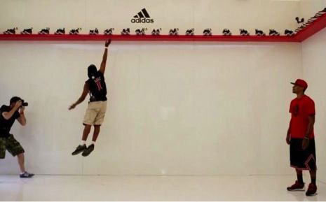 Try to jump as high as a pro. If you can, you get the shoes for free!