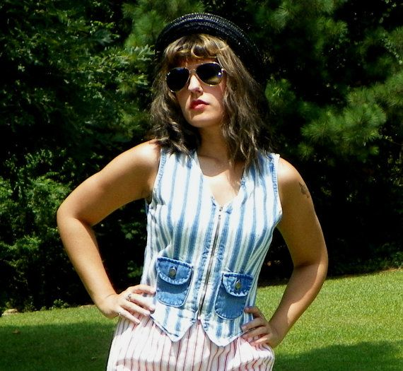 1980s Vintage Roughrider Striped Denim Zip Up by Enchantedfuture