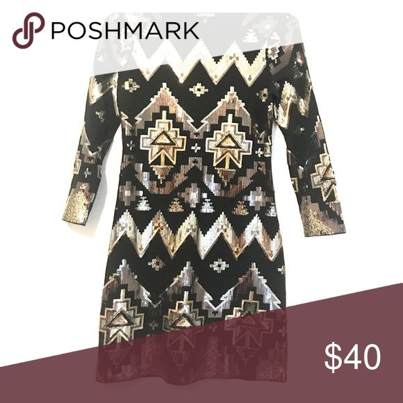 🥂Express Aztec Sequined Dress🍾 Long sleeved Aztec print Sequined dress from Express. Great for going out! Express Dresses Long Sleeve