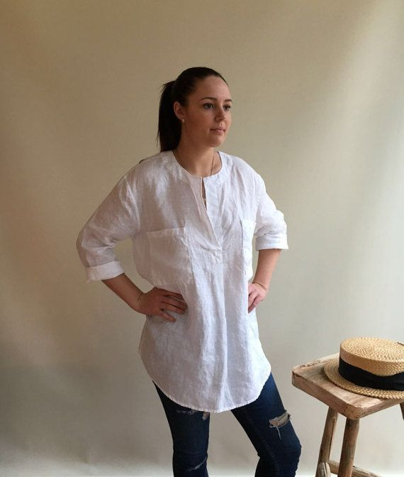 Linen Tunic Top, Linen Blouse, Loose Linen Shirt, Long Sleeves, White Linen…