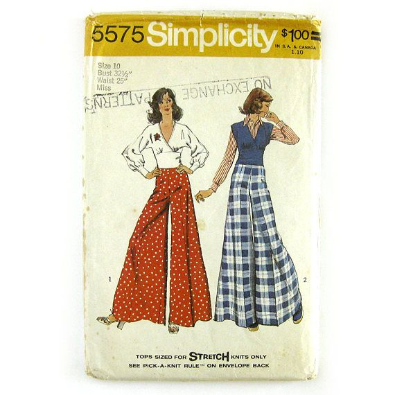 Vintage Simplicity 5575 Sewing Pattern / 1970s Pant Pattern /