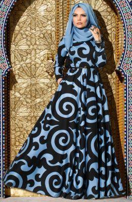 Muslima Wear Empirme Elbise 35007 Sis Mavisi
