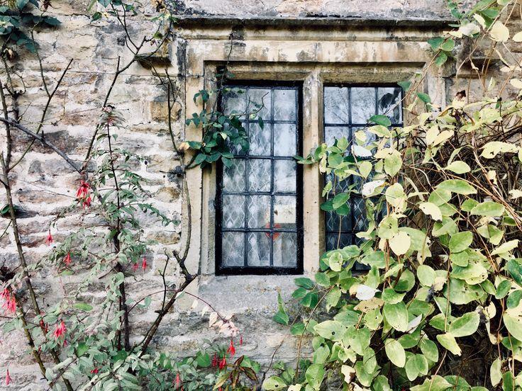 Window of cottage in Arlington Row, Bibury, Gloucestershire.