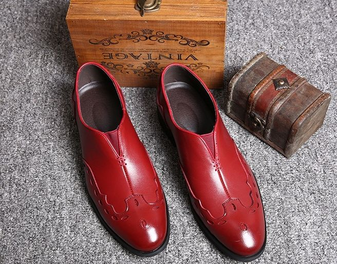 Men Formal Shoes Fashion Leather Shoes Brogue Men'S Flats Slip On Men Shoes  Genuine Leather High