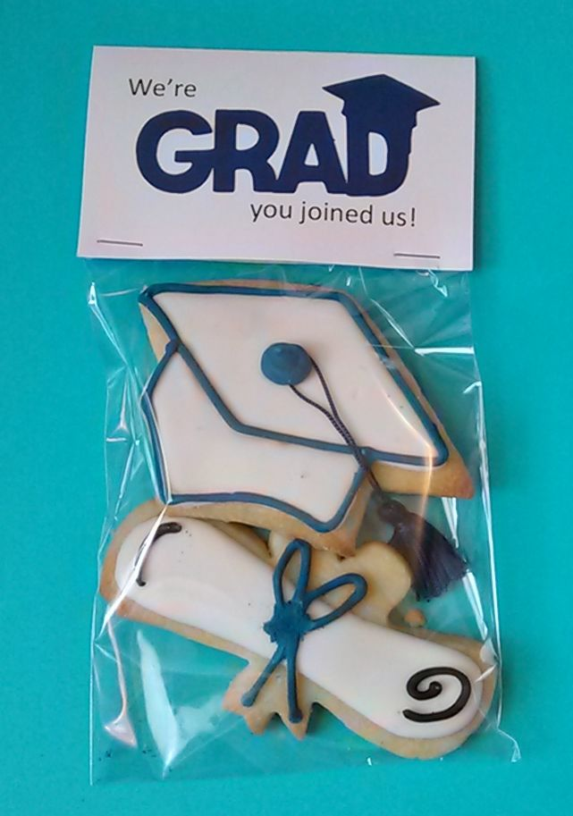 Graduation cap and diploma sugar cookies w/ royal icing