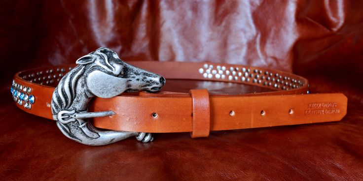 Handcrafted Leather Bling Belt with Stamped Design by KellysLeatherDesign on Etsy