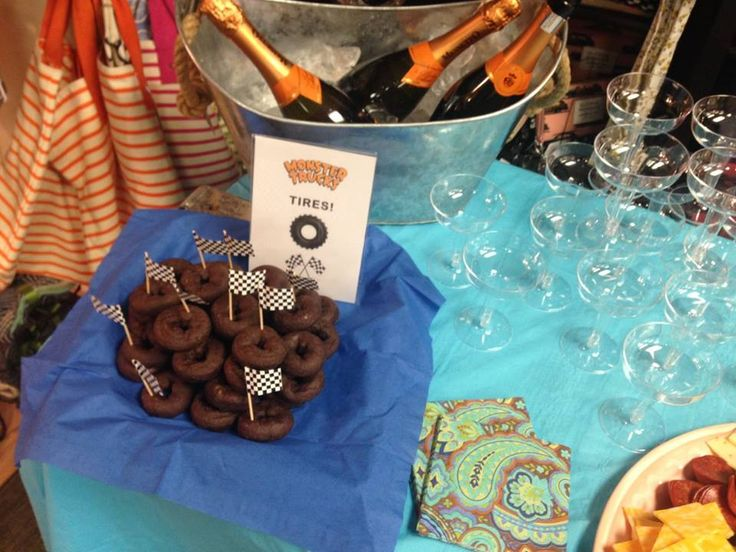 """Chocolate donut """"spare tires"""" and champagne at the Monster Trucks book launch bash!"""