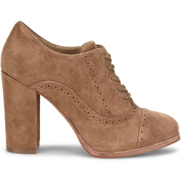 Isola Holli Women's Brown Pump (€110) ❤ liked on Polyvore featuring shoes, pumps, brown, browns oxford, oxford shoes, brown cap toe oxford, leather pumps and leather oxfords