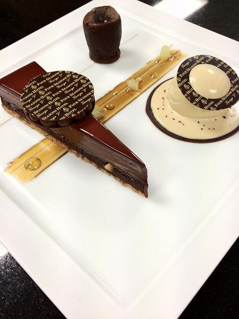 "Care to try Lucien Gautier's ""Tarte au Chocolat""?  (Four Seasons Hotel George V Paris) #plating #presentation #dessert"