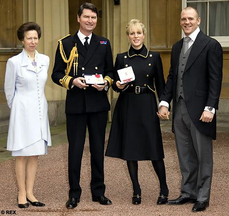 Princess Zara Phillips, husband Mike Tindall, mother Princess Anne and her stepfather Vice Admiral Timothy Lawrence