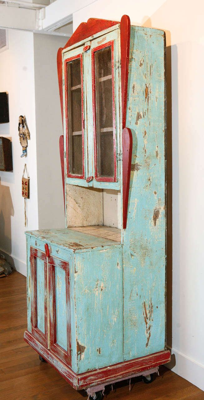 Circa 1890 to 1910, Painted New Mexican Trastero (Cupboard/Cabinet) 6 - 16 Best Antique Mexican Furniture Images On Pinterest Haciendas