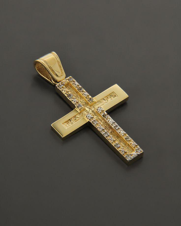 Σταυρός Χρυσός K14 με Ζιργκόν | eleftheriouonline.gr